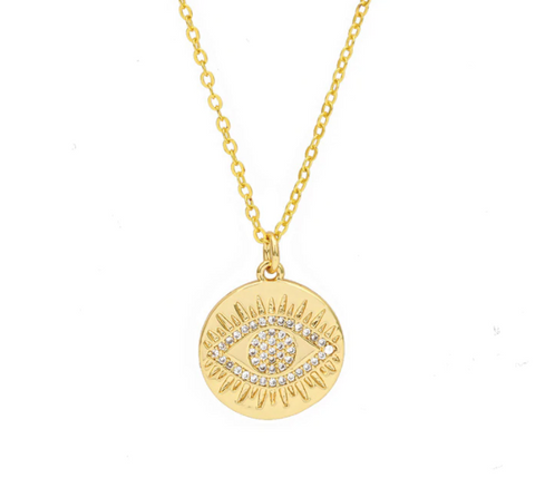 Coin Eye with Crystals - Gold Necklace