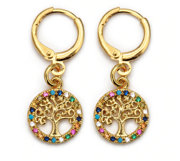 Tree of Life Hoop Earrings - Gold