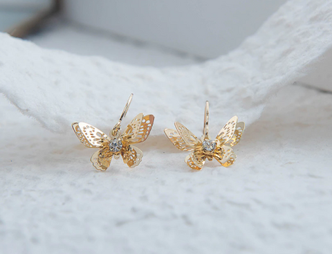 Butterfly Hoop Earrings - Gold