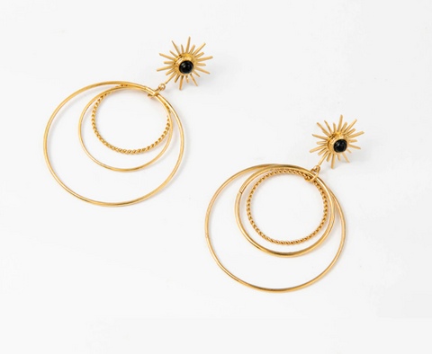 Sun with Layered Circles Earrings - Gold