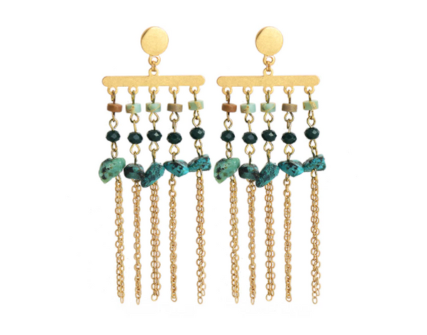 African Turquoise Drop Earrings - Gold