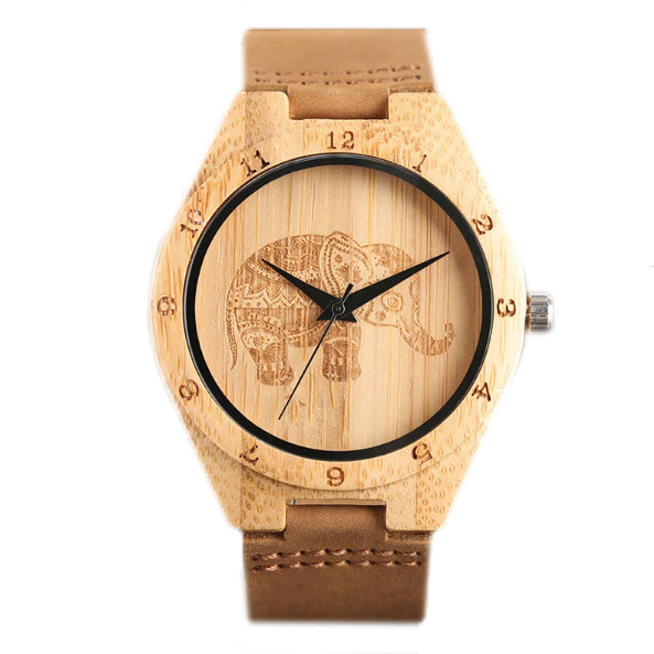 Ultra Lightweight Bamboo Wooden Watch: Elephant