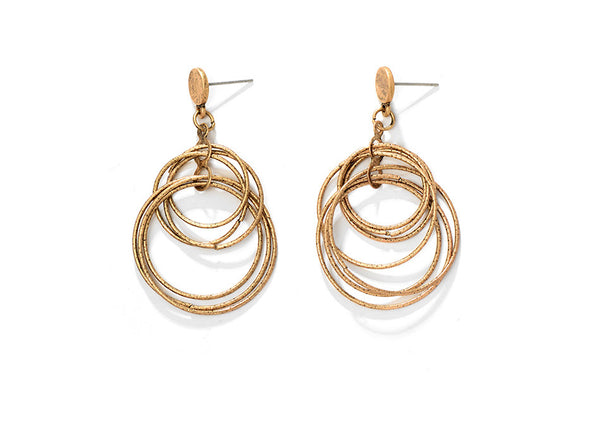 Boho Earrings with Circles - Silver & Gold