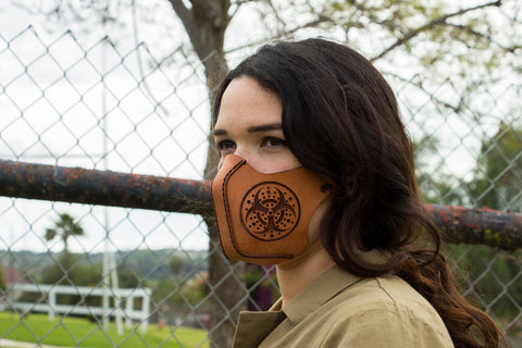 "Leather Face Mask - Customization Available - ""Bio Hazard"""