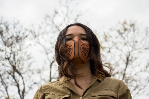 "Leather Face Mask - Customization Available - ""The Jellyfish"""