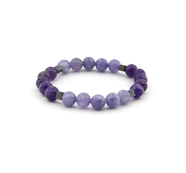 Deep Sleep - Amethyst, Angelite, Hematite - Gemstone Bracelet