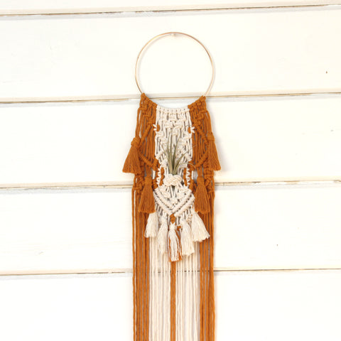 Macrame Air Plant Holder with Tassels - Sophia - White & Mustard - Bohemian Home Decor Wall Hanging