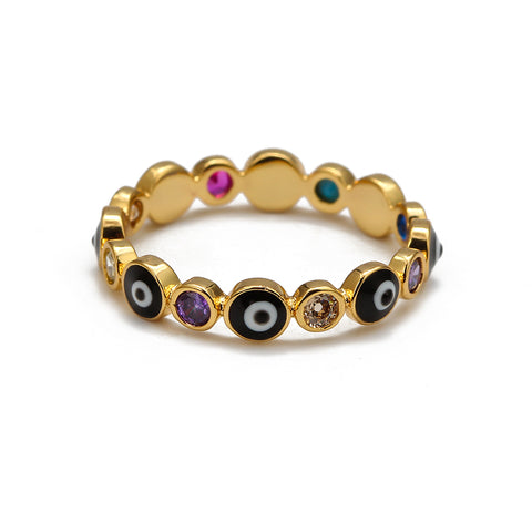 Evil Eye Ring with Colorful Crystals