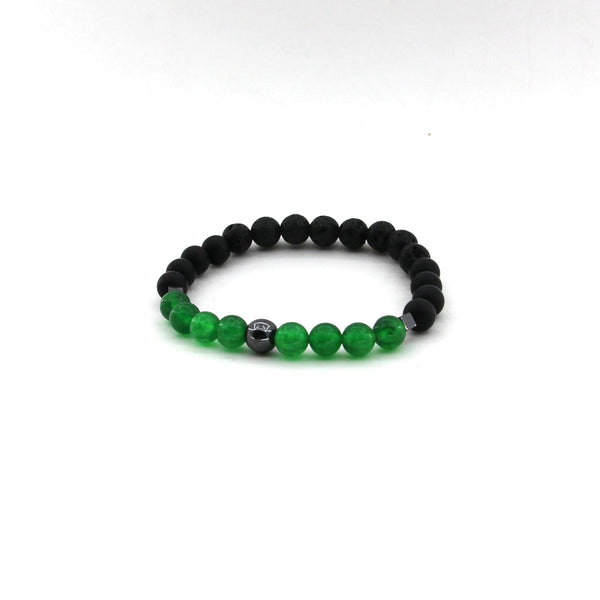Connect to Your Higher Self - Green Jade, Lava, Obsidian, Hematite- Gemstone Bracelet