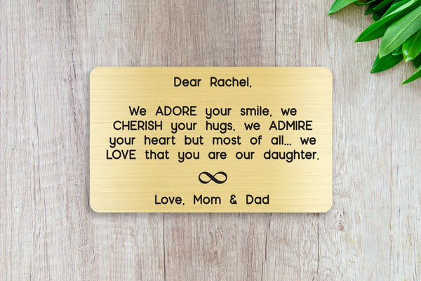 Personalized Wallet Card Insert, We Adore Your Smile, Daughter, Silver, Graduation Gift, Bridal Shower