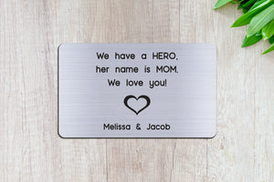 Personalized Engraved Wallet Card Insert, Gift for Mom, Mother's Day, From the Kids, Silver
