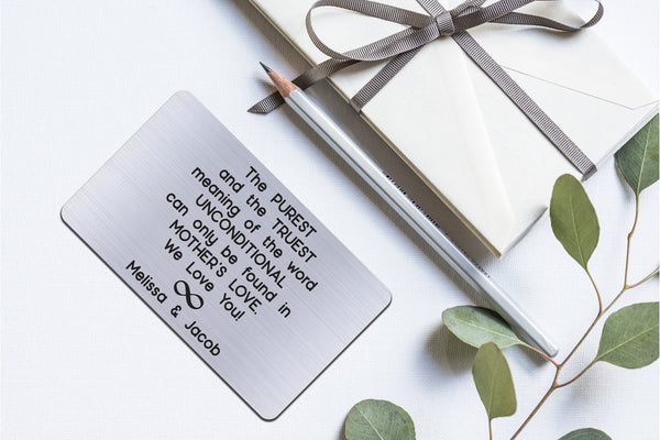 Personalized Wallet Card Insert, Engraved, Gift to Mom, Unconditional Mother's Love, from the Kids, Silver