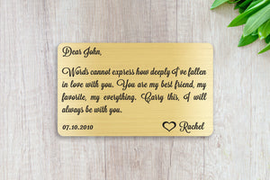 Personalized Wallet Card Insert, Words Cannot Express, Gift For Lover, Gold