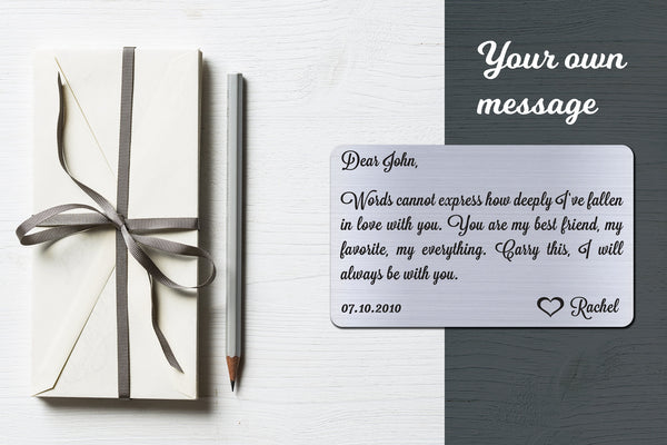 Personalized Wallet Card Insert, Words Cannot Express, Gift For Lover, Silver