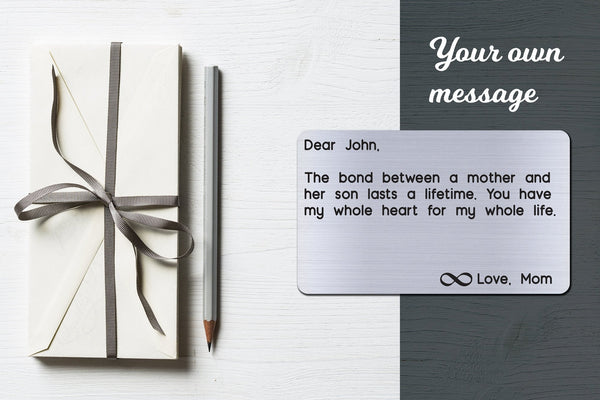 Personalized Engraved Wallet Card Insert, The Bond, Gift for Son from Mom, Silver