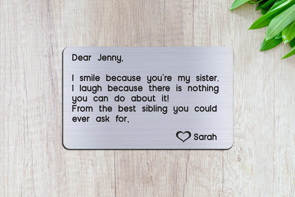 Personalized Engraved Wallet Card Insert, Sister, Family Gift, From the Best Sibling- Silver
