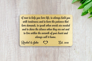 Wedding Vows, Personalized Wallet Card Insert, Help You Love Life, Marriage, Engagement, Gold