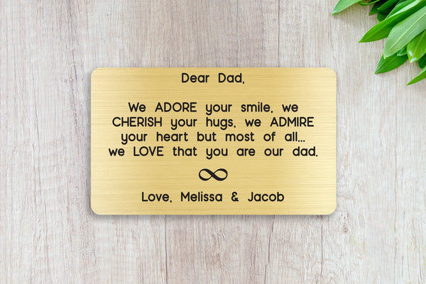 Personalized Engraved Wallet Card Insert, We Adore Your Smile Dad, Gift, Father's Day, From the Kids, Gold