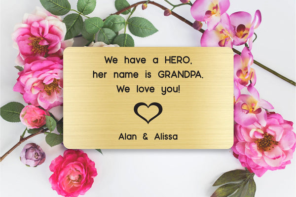 Personalized Engraved Wallet Card Insert, Gift for Grandpa, Hero, From the Grand kids, Gold