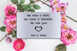 Personalized Engraved Wallet Card Insert, Gift for Grandpa, Hero, From the Grand kids, Silver