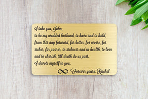 Wedding Vows, Personalized Wallet Card Insert, I Take You, Marriage, Engagement, Gold