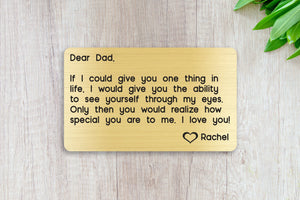 Personalized Engraved Wallet Card Insert, If I Could Give You One Thing, Dad, Gift, Father's Day, From the Kids, Gold