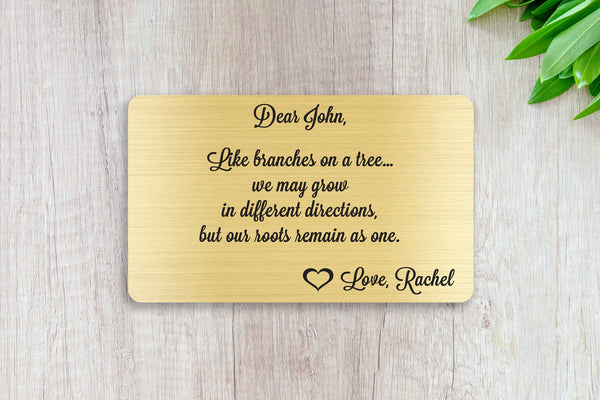 Personalized Wallet Card Insert, Like Branches On A Tree, Gift For Lover, Gold