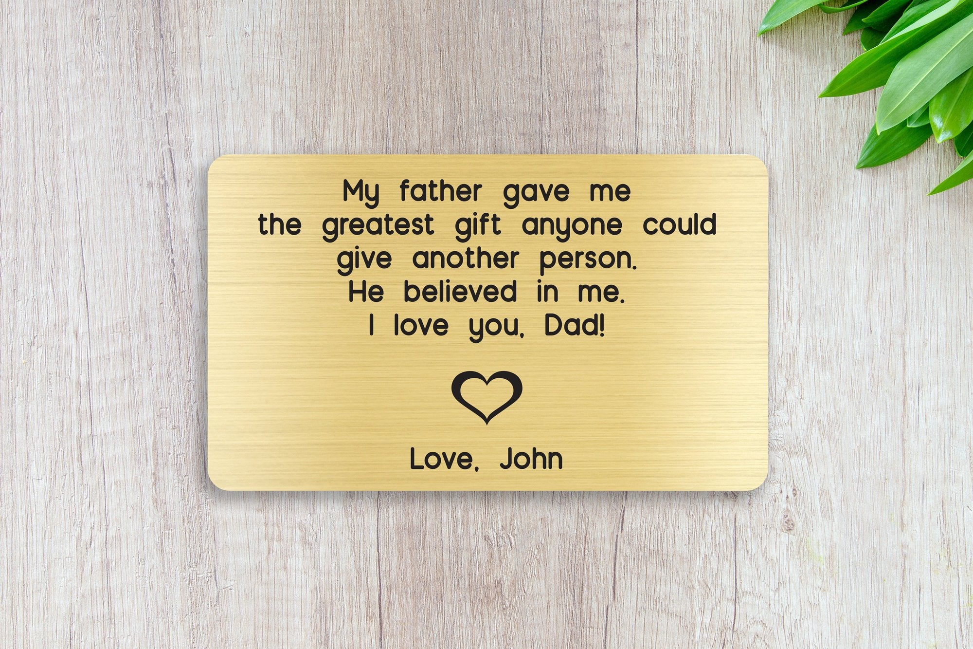 Personalized Engraved Wallet Card Insert, My Father Believed In Me, Dad, Gift, Father's Day, From the Kids, Gold
