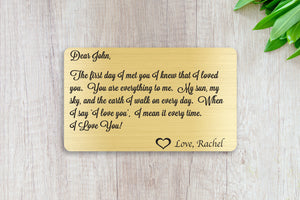 Wedding Vows, Personalized Wallet Card Insert, First Day I Met You, Marriage, Engagement, Gold