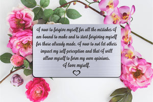 I Vow To Forgive Myself, Personalized Wallet Card Insert, Self Love, Self Care, Silver