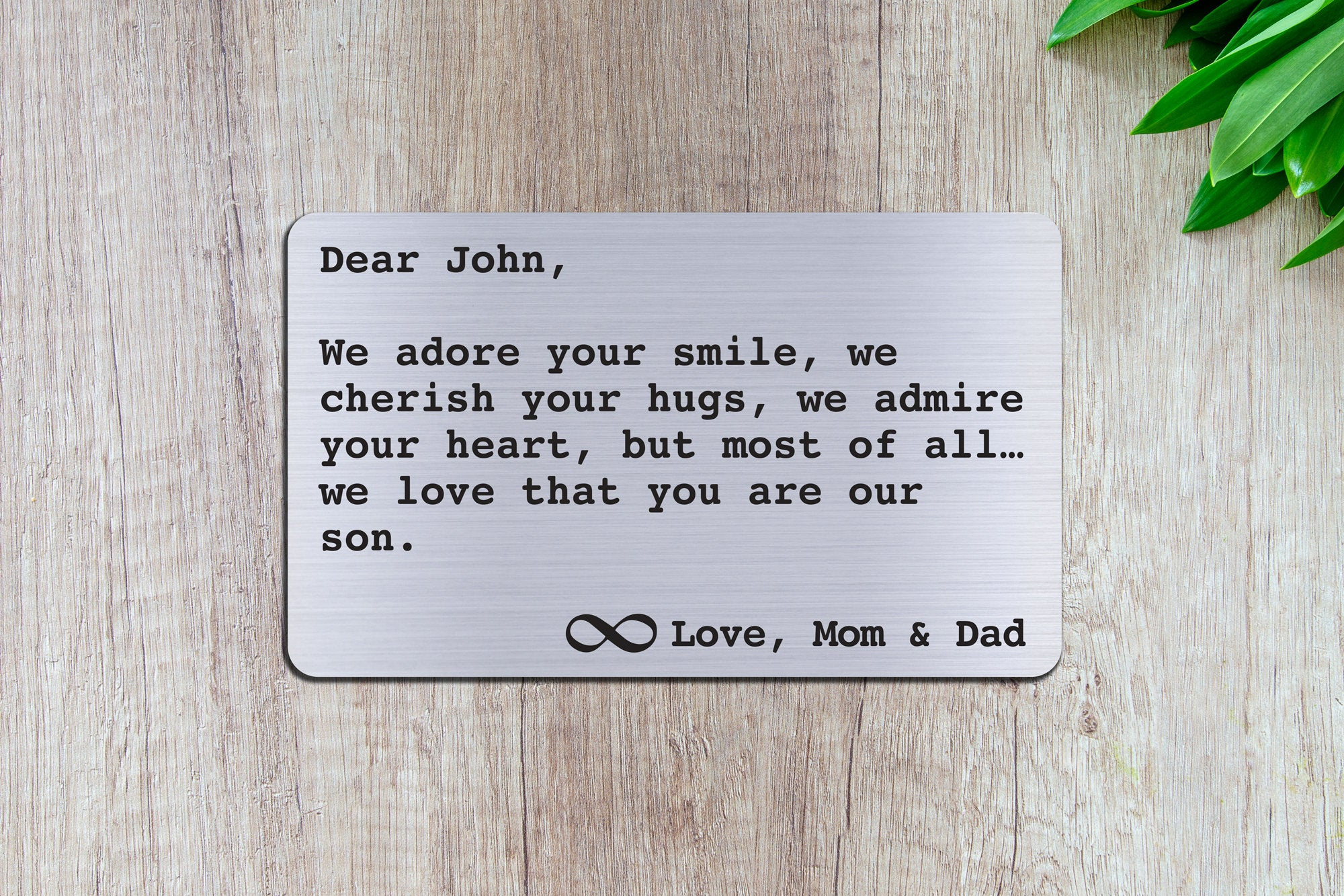 Personalized Wallet Card Insert - We adore your smile son - Silver