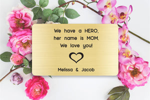 Personalized Engraved Wallet Card Insert, From Kids to Mom, Gold, Mother's Day Gift