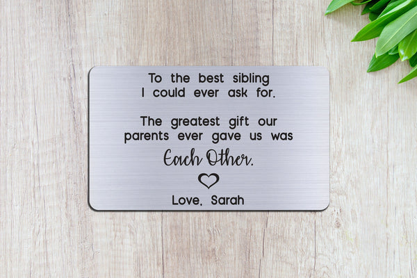 Personalized Engraved Wallet Card Insert, Sibling, Sister, Brother, Family Gift, Silver