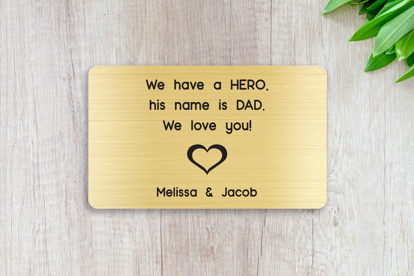 Personalized Engraved Wallet Card Insert, Gift for Dad, Father's Day, From the Kids, Gold