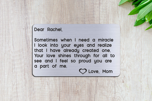 Personalized Engraved Wallet Card Insert, Gift for Daughter from Mom, Silver