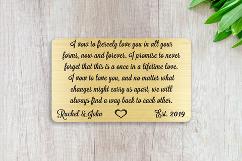 Wedding Vows, Personalized Wallet Card Insert, Engraved, Marriage, Engagement, Gold