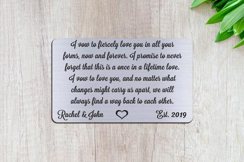 Wedding Vows, Personalized Wallet Card Insert, Engraved, Marriage, Engagement, Silver