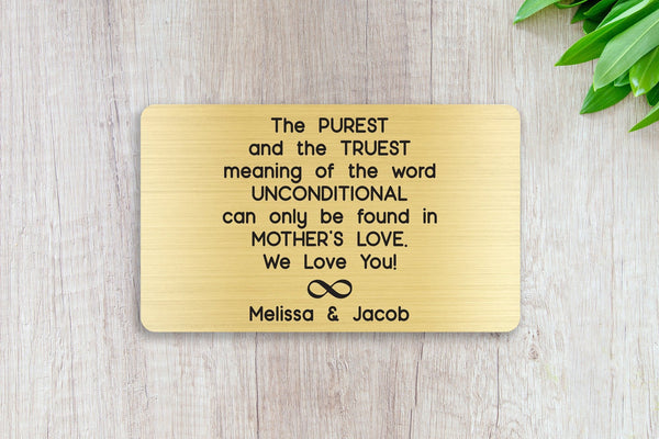 Personalized Wallet Card Insert, Engraved, Gift to Mom, Unconditional Mother's Love, from the Kids, Gold