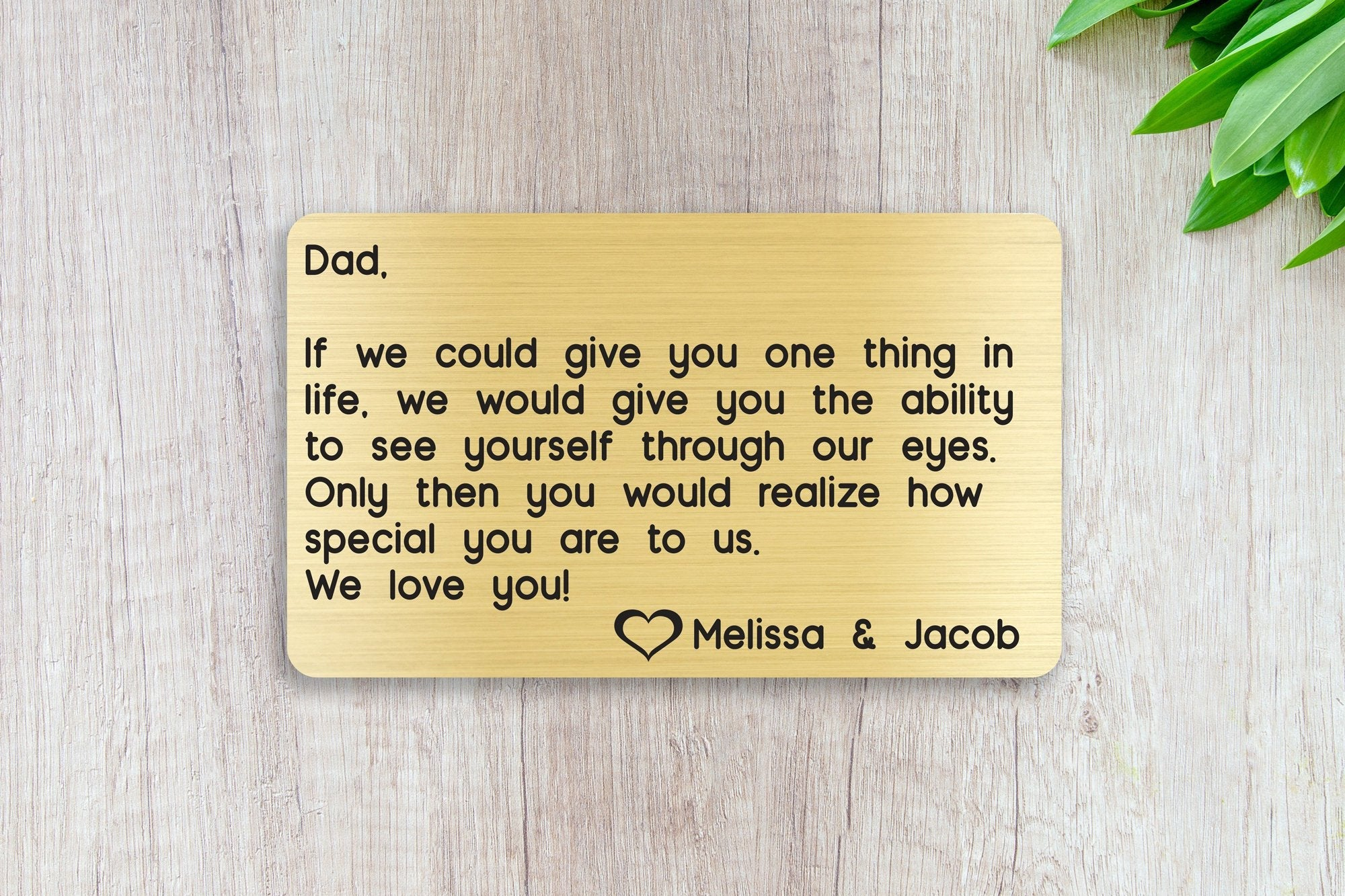 Personalized Engraved Wallet Card Insert, Special Dad Gift, Father's Day, From the Kids, Gold
