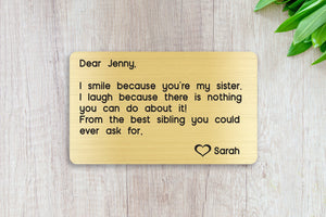 Personalized Engraved Wallet Card Insert, Sister, Family Gift, From the Best Sibling- Gold
