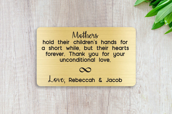 Personalized Wallet Card Insert, Engraved, Gift to Mom, Mother's Unconditional Love, from the Kids, Gold
