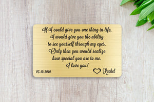 Personalized Wallet Card Insert, See Yourself Through My Eyes, Gift For Lover, Gold