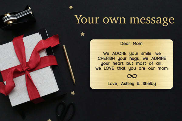 Personalized Wallet Card Insert, Engraved, Gift to Mom, We Adore Your Smile Mom, from the Kids, Gold