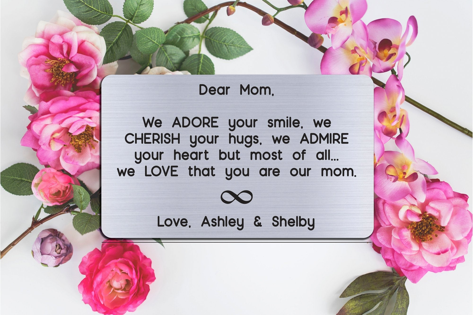 Personalized Wallet Card Insert, Engraved, Gift to Mom, We Adore Your Smile Mom, from the Kids, Silver