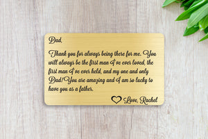 Personalized Engraved Wallet Card Insert, First Man I've Ever Loved, Gift, Father's Day, From the Kids, Gold