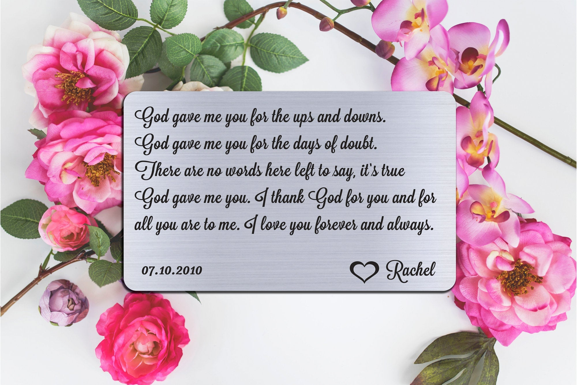 Wedding Vows, Personalized Wallet Card Insert, God Gave Me You, Marriage, Engagement, Silver