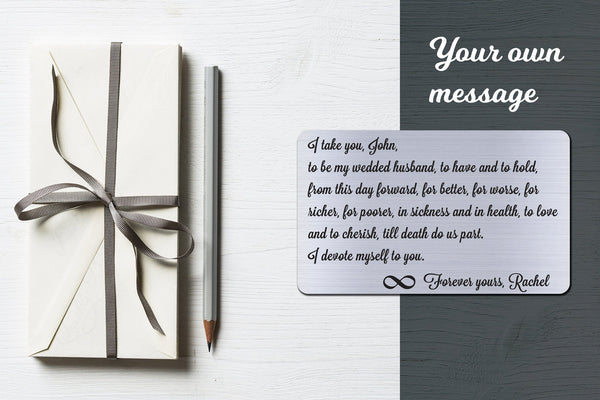 Wedding Vows, Personalized Wallet Card Insert, I Take You, Marriage, Engagement, Silver