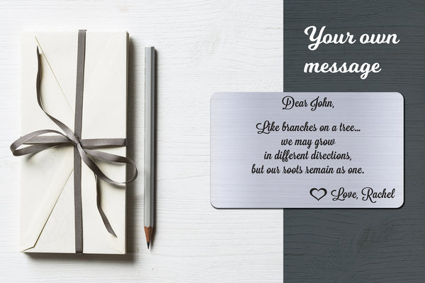 Personalized Wallet Card Insert, Like Branches On A Tree, Gift For Lover, Silver