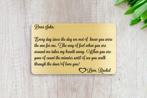 Wedding Vows, Personalized Wallet Card Insert, You're The One For Me, Marriage, Engagement, Gold