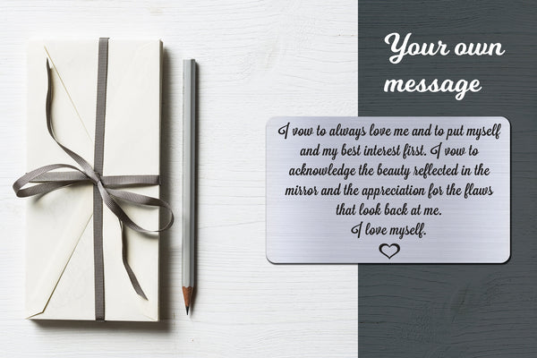 I Vow To Always Love Me, Personalized Wallet Card Insert, Self Love, Self Care, Silver